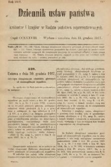 Dziennik Ustaw Państwa dla Królestw i Krajów w Radzie Państwa Reprezentowanych. 1917, cz.238