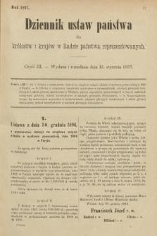 Dziennik Ustaw Państwa dla Królestw i Krajów w Radzie Państwa Reprezentowanych. 1897, nr3