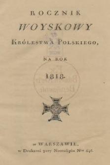 Rocznik Woyskowy Królestwa Polskiego na rok 1818