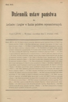 Dziennik Ustaw Państwa dla Królestw i Krajów w Radzie Państwa Reprezentowanych. 1913, nr68