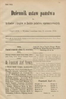 Dziennik Ustaw Państwa dla Królestw i Krajów w Radzie Państwa Reprezentowanych. 1913, nr69