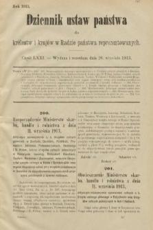 Dziennik Ustaw Państwa dla Królestw i Krajów w Radzie Państwa Reprezentowanych. 1913, nr71