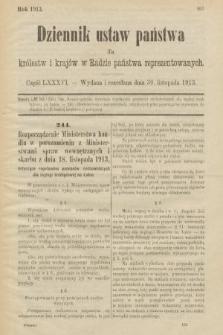 Dziennik Ustaw Państwa dla Królestw i Krajów w Radzie Państwa Reprezentowanych. 1913, nr86