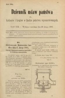 Dziennik Ustaw Państwa dla Królestw i Krajów w Radzie Państwa Reprezentowanych. 1905, nr13