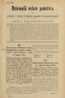 Dziennik Ustaw Państwa dla Królestw i Krajów w Radzie Państwa Reprezentowanych. 1905, nr16