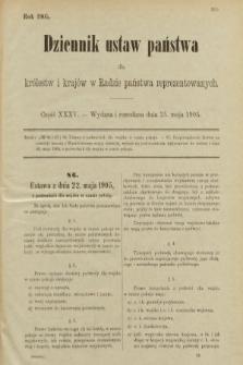 Dziennik Ustaw Państwa dla Królestw i Krajów w Radzie Państwa Reprezentowanych. 1905, nr35