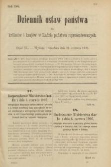Dziennik Ustaw Państwa dla Królestw i Krajów w Radzie Państwa Reprezentowanych. 1905, nr40