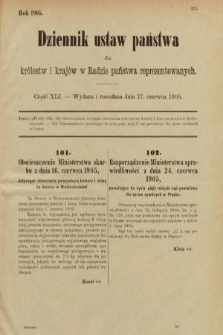 Dziennik Ustaw Państwa dla Królestw i Krajów w Radzie Państwa Reprezentowanych. 1905, nr41
