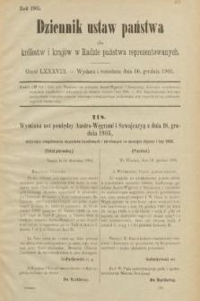 Dziennik Ustaw Państwa dla Królestw i Krajów w Radzie Państwa Reprezentowanych. 1905, nr88