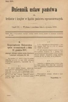 Dziennik Ustaw Państwa dla Królestw i Krajów w Radzie Państwa Reprezentowanych. 1918, nr3