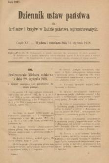Dziennik Ustaw Państwa dla Królestw i Krajów w Radzie Państwa Reprezentowanych. 1918, nr15