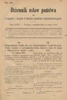 Dziennik Ustaw Państwa dla Królestw i Krajów w Radzie Państwa Reprezentowanych. 1918, nr26