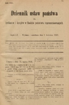 Dziennik Ustaw Państwa dla Królestw i Krajów w Radzie Państwa Reprezentowanych. 1918, nr60