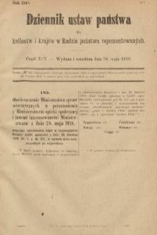 Dziennik Ustaw Państwa dla Królestw i Krajów w Radzie Państwa Reprezentowanych. 1918, nr95