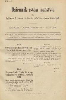 Dziennik Ustaw Państwa dla Królestw i Krajów w Radzie Państwa Reprezentowanych. 1918, nr116