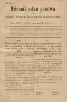 Dziennik Ustaw Państwa dla Królestw i Krajów w Radzie Państwa Reprezentowanych. 1918, nr122