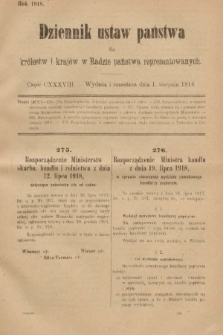 Dziennik Ustaw Państwa dla Królestw i Krajów w Radzie Państwa Reprezentowanych. 1918, nr138