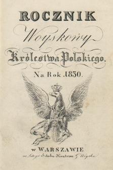Rocznik Woyskowy Królestwa Polskiego na rok 1830