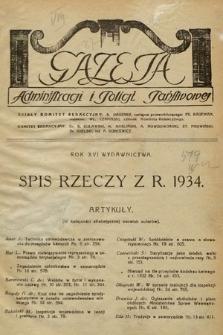 Gazeta Administracji i Policji Państwowej. 1934, spis rzeczy