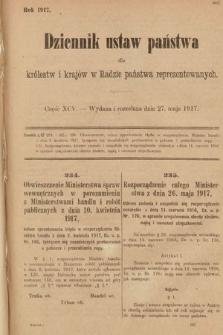 Dziennik Ustaw Państwa dla Królestw i Krajów w Radzie Państwa Reprezentowanych. 1917, cz.95