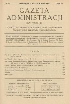 Gazeta Administracji : dwutygodnik poświęcony prawu publicznemu oraz zagadnieniom administracji rządowej i samorządowej. 1938, nr17
