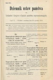 Dziennik Ustaw Państwa dla Królestw i Krajów w Radzie Państwa Reprezentowanych. 1914, nr10
