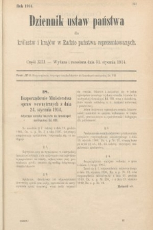 Dziennik Ustaw Państwa dla Królestw i Krajów w Radzie Państwa Reprezentowanych. 1914, nr13