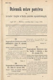 Dziennik Ustaw Państwa dla Królestw i Krajów w Radzie Państwa Reprezentowanych. 1914, nr14