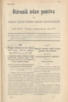 Dziennik Ustaw Państwa dla Królestw i Krajów w Radzie Państwa Reprezentowanych. 1914, nr27