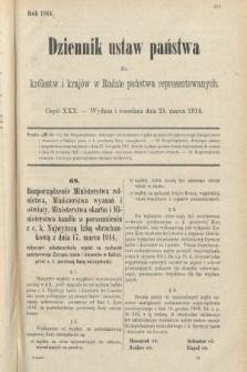 Dziennik Ustaw Państwa dla Królestw i Krajów w Radzie Państwa Reprezentowanych. 1914, nr30