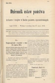 Dziennik Ustaw Państwa dla Królestw i Krajów w Radzie Państwa Reprezentowanych. 1914, nr31