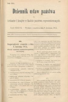 Dziennik Ustaw Państwa dla Królestw i Krajów w Radzie Państwa Reprezentowanych. 1914, nr37