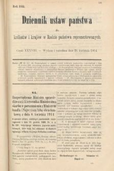 Dziennik Ustaw Państwa dla Królestw i Krajów w Radzie Państwa Reprezentowanych. 1914, nr38