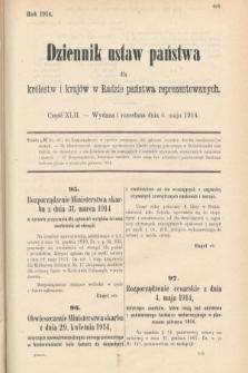Dziennik Ustaw Państwa dla Królestw i Krajów w Radzie Państwa Reprezentowanych. 1914, nr42