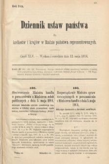 Dziennik Ustaw Państwa dla Królestw i Krajów w Radzie Państwa Reprezentowanych. 1914, nr45