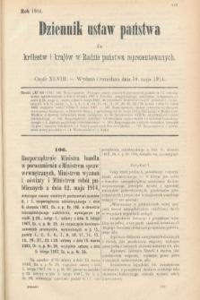 Dziennik Ustaw Państwa dla Królestw i Krajów w Radzie Państwa Reprezentowanych. 1914, nr48