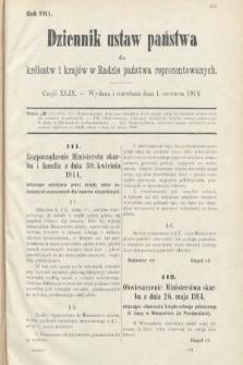 Dziennik Ustaw Państwa dla Królestw i Krajów w Radzie Państwa Reprezentowanych. 1914, nr49