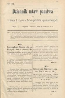 Dziennik Ustaw Państwa dla Królestw i Krajów w Radzie Państwa Reprezentowanych. 1914, nr55