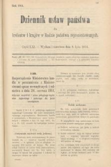 Dziennik Ustaw Państwa dla Królestw i Krajów w Radzie Państwa Reprezentowanych. 1914, nr61