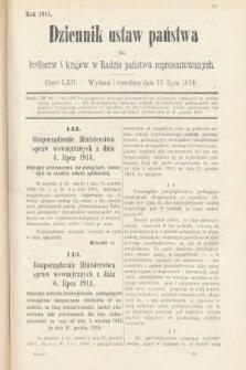 Dziennik Ustaw Państwa dla Królestw i Krajów w Radzie Państwa Reprezentowanych. 1914, nr62