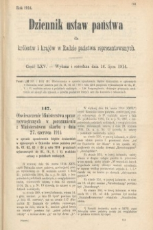 Dziennik Ustaw Państwa dla Królestw i Krajów w Radzie Państwa Reprezentowanych. 1914, nr65