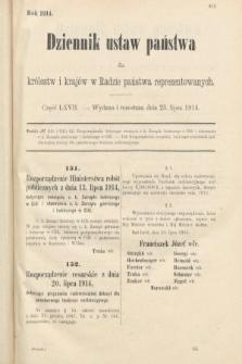 Dziennik Ustaw Państwa dla Królestw i Krajów w Radzie Państwa Reprezentowanych. 1914, nr67
