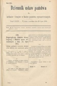 Dziennik Ustaw Państwa dla Królestw i Krajów w Radzie Państwa Reprezentowanych. 1914, nr81