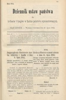 Dziennik Ustaw Państwa dla Królestw i Krajów w Radzie Państwa Reprezentowanych. 1914, nr89