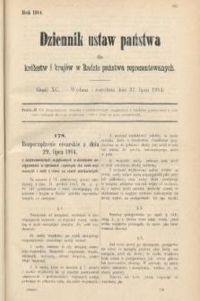 Dziennik Ustaw Państwa dla Królestw i Krajów w Radzie Państwa Reprezentowanych. 1914, nr90