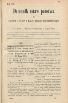 Dziennik Ustaw Państwa dla Królestw i Krajów w Radzie Państwa Reprezentowanych. 1914, nr92