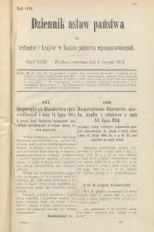 Dziennik Ustaw Państwa dla Królestw i Krajów w Radzie Państwa Reprezentowanych. 1914, nr93
