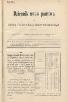 Dziennik Ustaw Państwa dla Królestw i Krajów w Radzie Państwa Reprezentowanych. 1914, nr94
