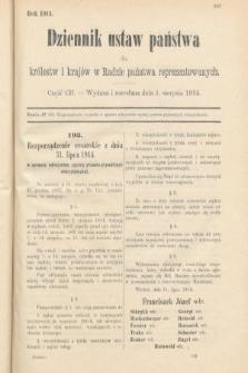 Dziennik Ustaw Państwa dla Królestw i Krajów w Radzie Państwa Reprezentowanych. 1914, nr102