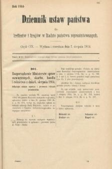 Dziennik Ustaw Państwa dla Królestw i Krajów w Radzie Państwa Reprezentowanych. 1914, nr109